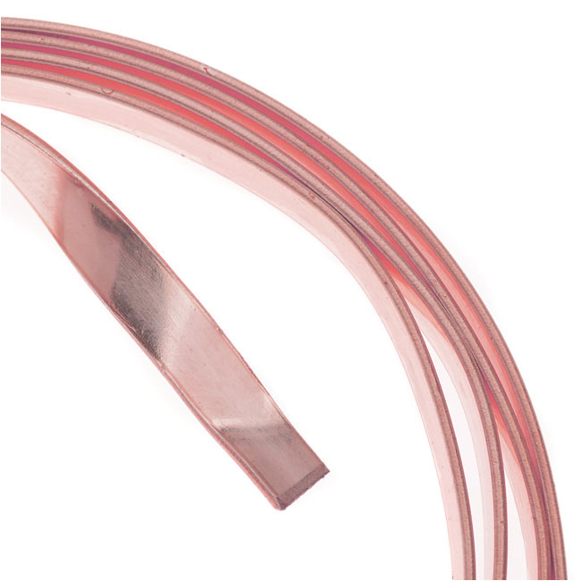 Artistic Wire, Flat Craft Wire 5mm 21 Gauge Thick, 3 Foot Coil, Rose Gold Color