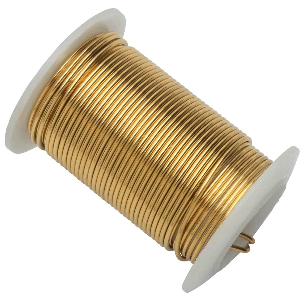 Wire Elements, Tarnish Resistant Gold Color Copper Wire, 16 Gauge 8 Yards (7.3 Meters)
