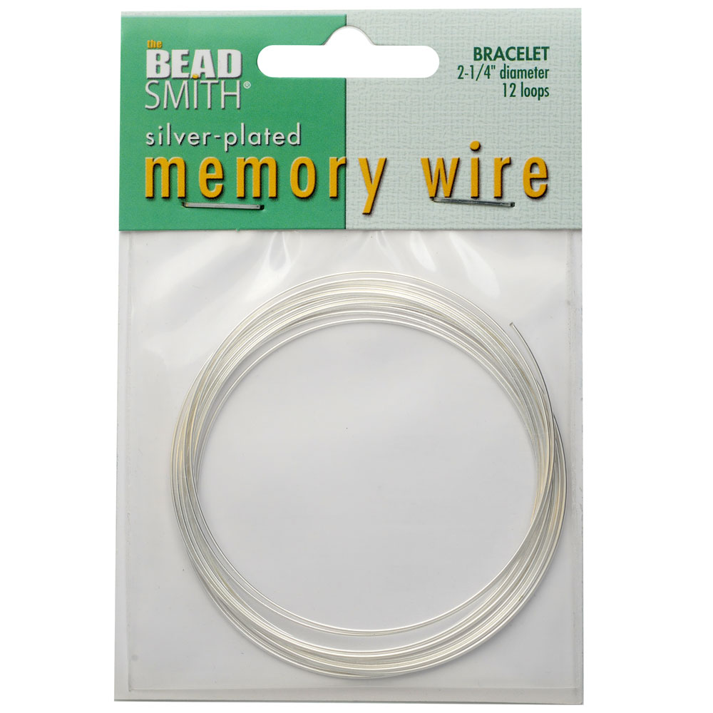 Memory Wire, Bracelet Round Size Medium 2.25 Inch Diameter, 12 Loops, Silver Plated