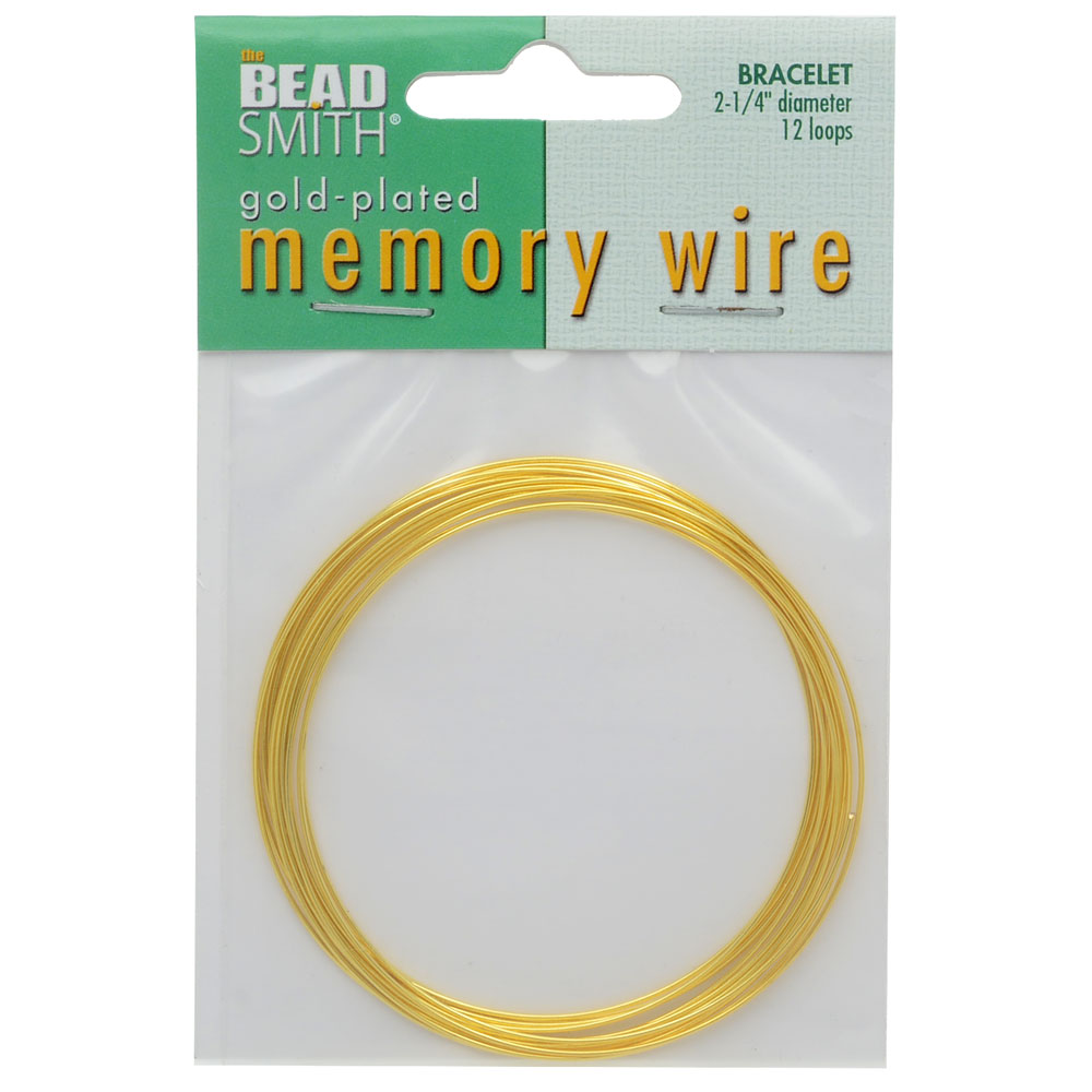 Memory Wire, Bracelet Round Size Medium 2.25 Diameter, 12 Loops, Gold Plated