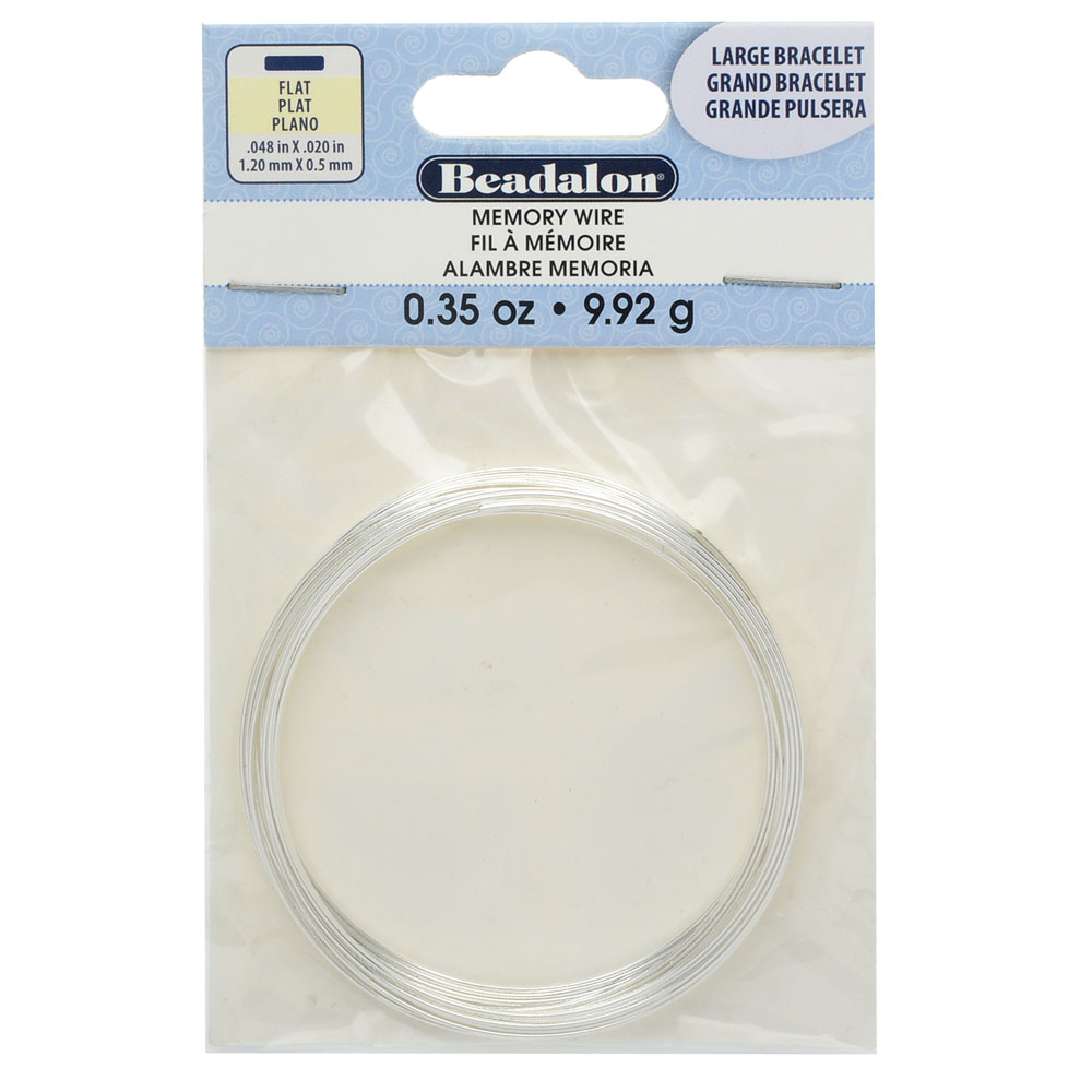 Memory Wire, Bracelet Round Flat Wire Size Medium 2.25 Inch Diameter, 12 Loops, Silver Plated