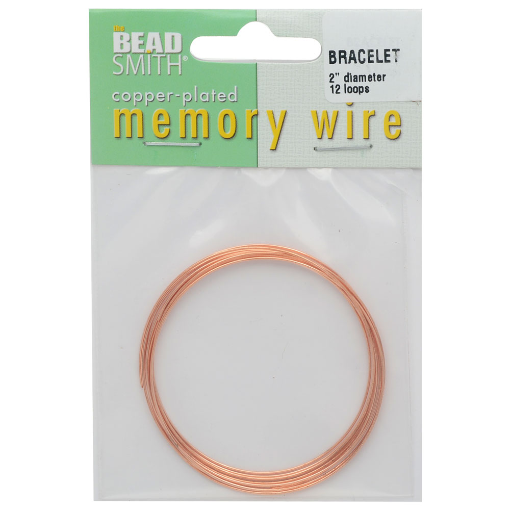 Memory Wire, Bracelet Round Size Small 2 Inch Diameter, 12 Loops, Copper Plated