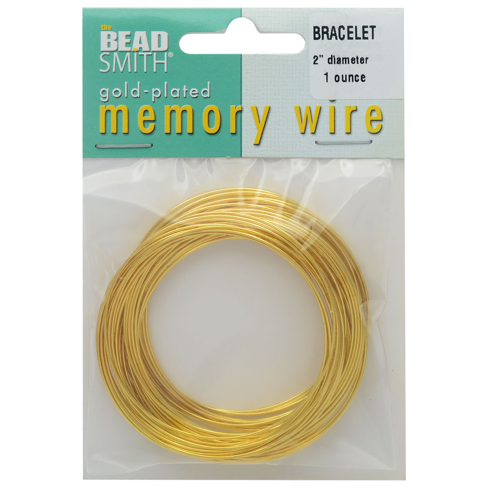 Memory Wire, Bracelet Round Size Small 2 Inch Diameter, 57 Loops, Gold Plated