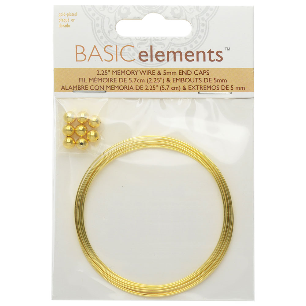 Memory Wire And End Caps Set, Bracelet Round Size Medium 2.25 Inch Diameter, 12 Loops, Gold Plated