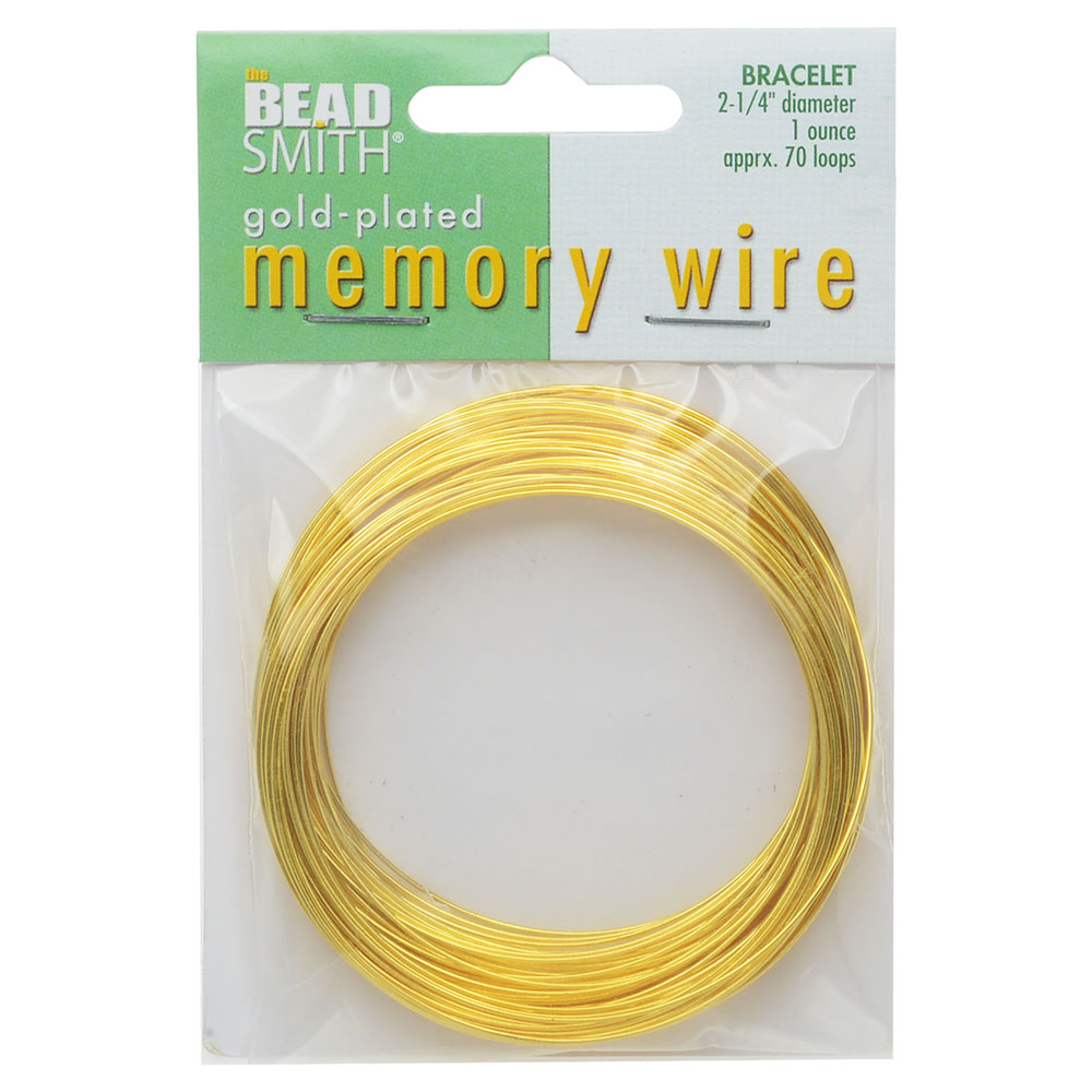 Memory Wire, Bracelet Round Size Medium 2.25 Inch Diameter, 70 Loops, Gold Plated
