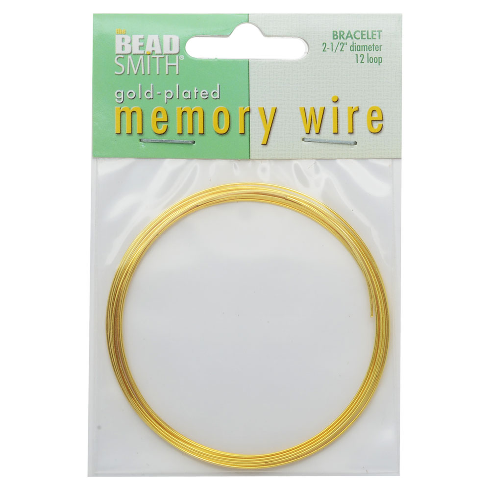 Memory Wire, Bracelet Round Size Large 2.50 Inch Diameter, 12 Loops, Gold Plated