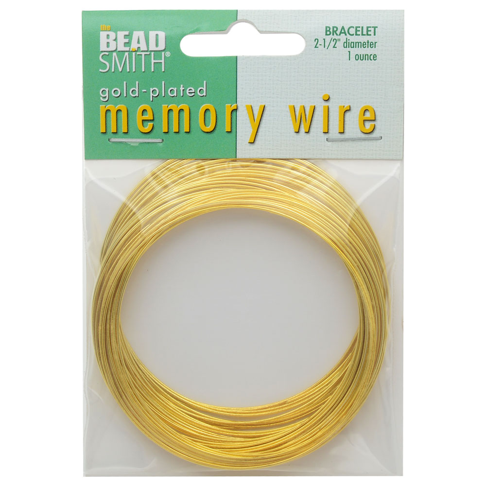 Memory Wire, Bracelet Round Size Large 2.50 Inch Diameter, 63 Loops, Gold Plated