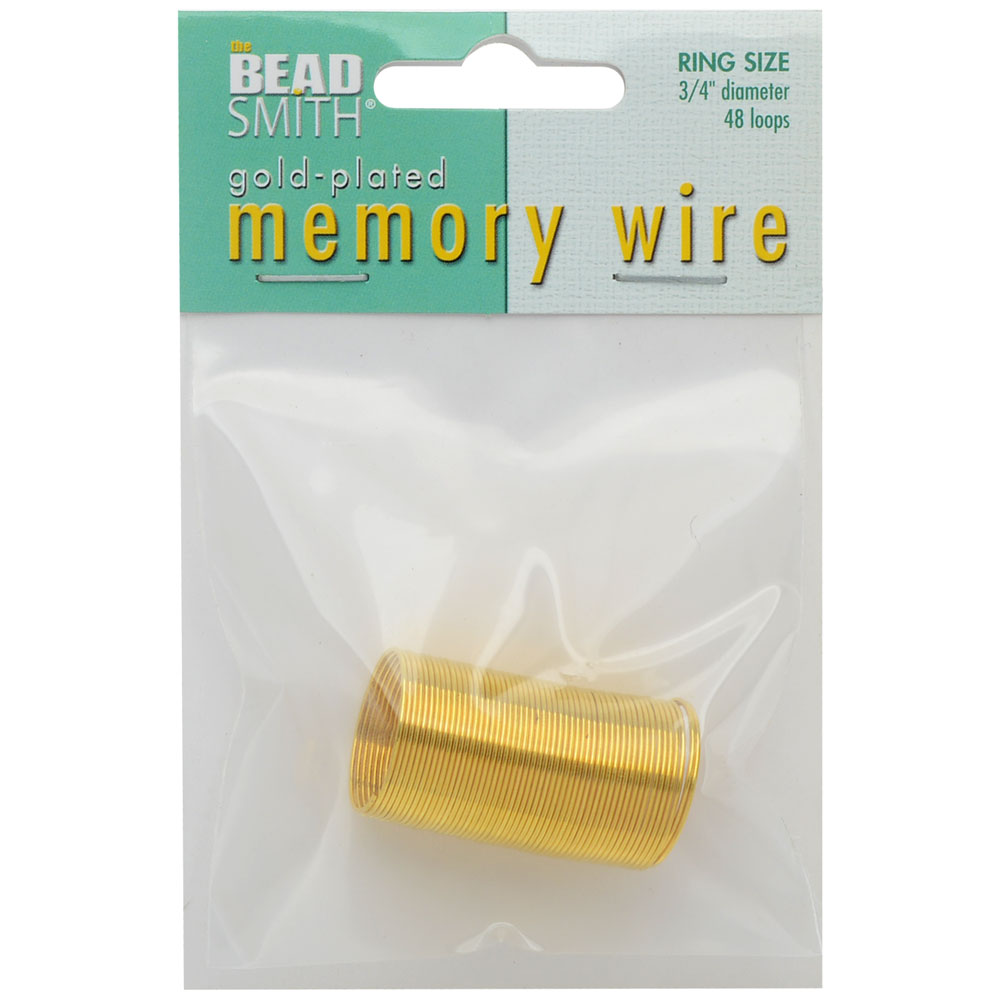 Memory Wire, Ring Round 0.75 Inch Diameter, 48 Loops, Gold Plated