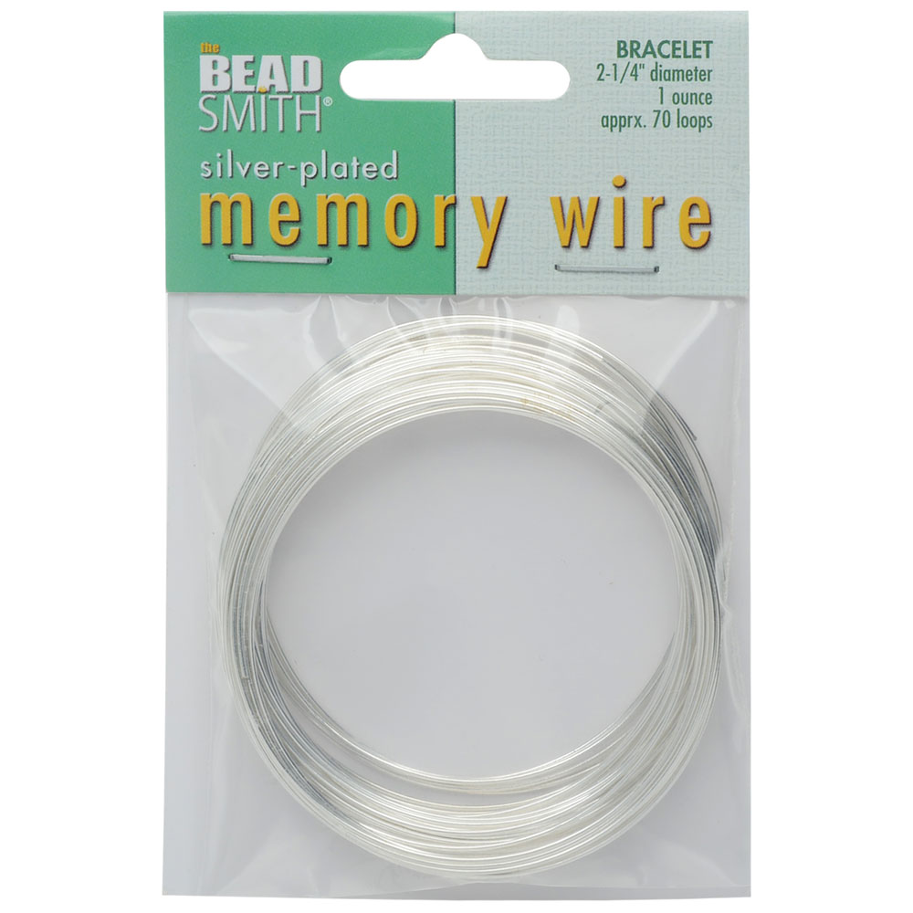 Memory Wire, Bracelet Round Size Medium 2.25 Inch Diameter, 70 Loops, Silver Plated