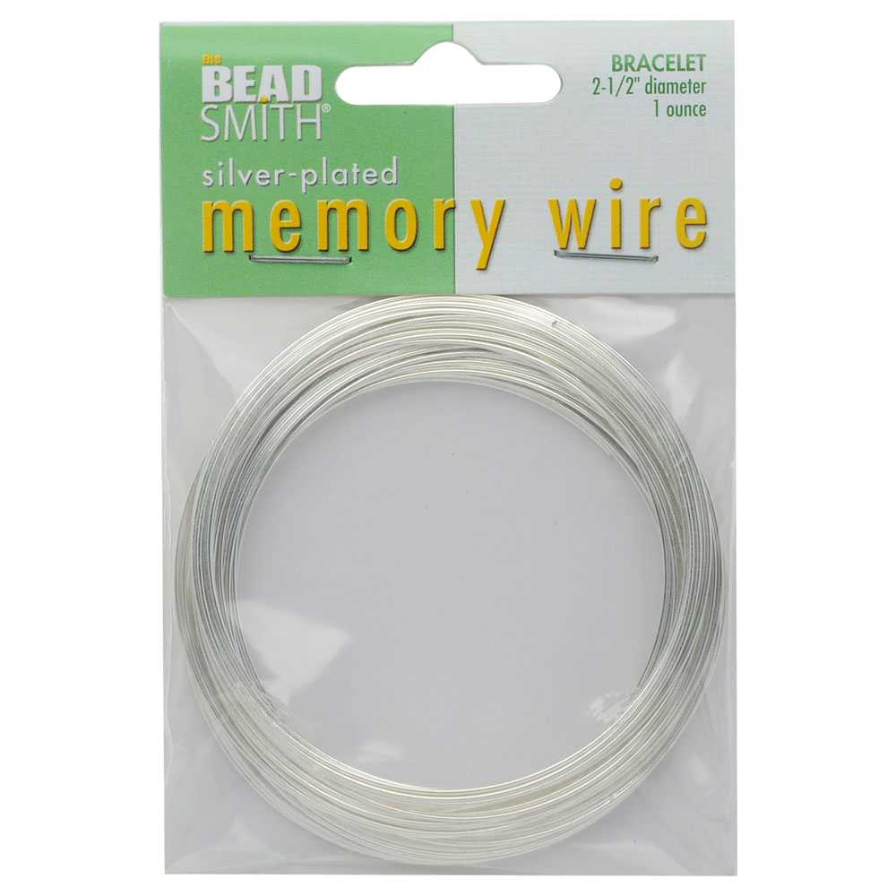 Memory Wire, Bracelet Round Size Large 2.50 Inch Diameter, 63 Loops, Silver Plated