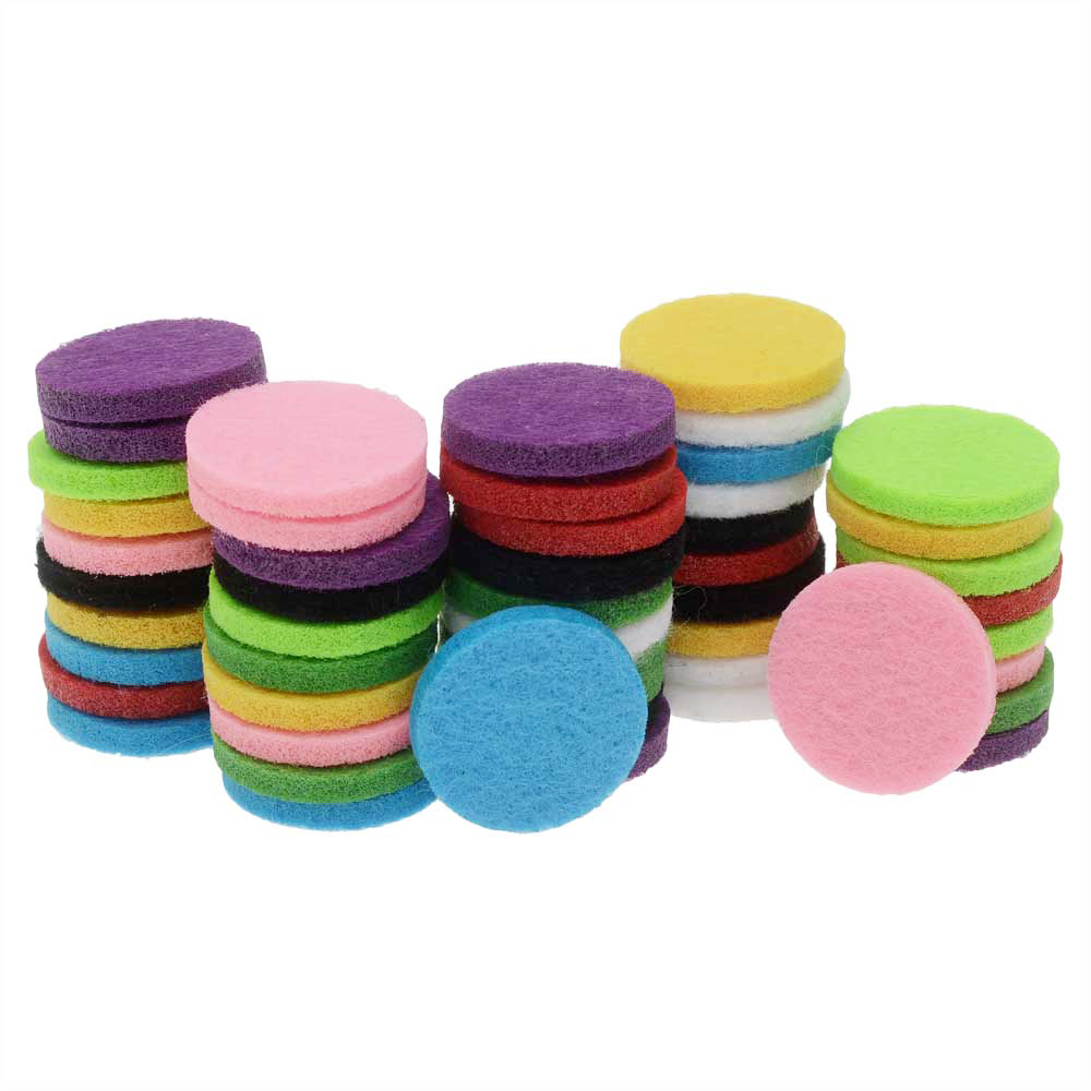 Aromatherapy Fiber Fragrance Pads for Essential Oil, Coin Shape 22mm, 50 Pieces, Assorted
