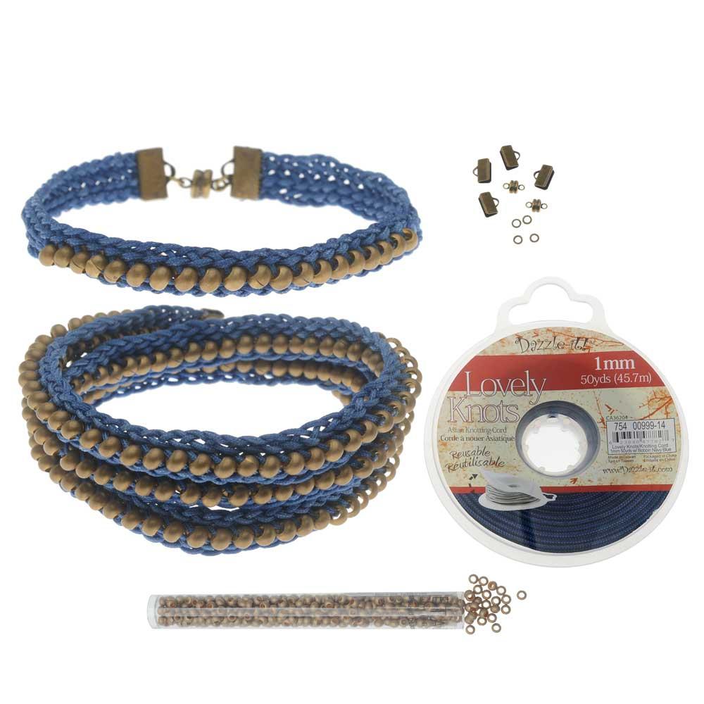 Refill - Beaded Flat Kumihimo Bracelet Set - Blue/Antique Brass - Exclusive Beadaholique Jewelry Kit