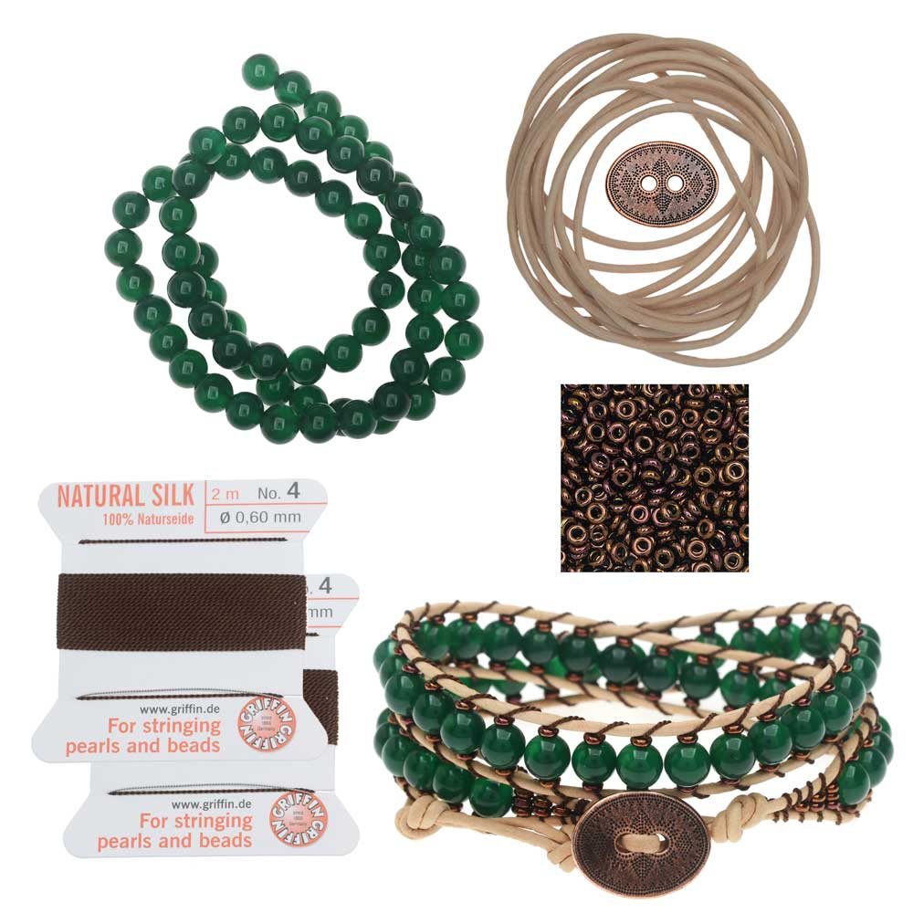 Refill - Leather Double Wrapped Loom Bracelet - Green/Copper - Exclusive Beadaholique Jewelry Kit