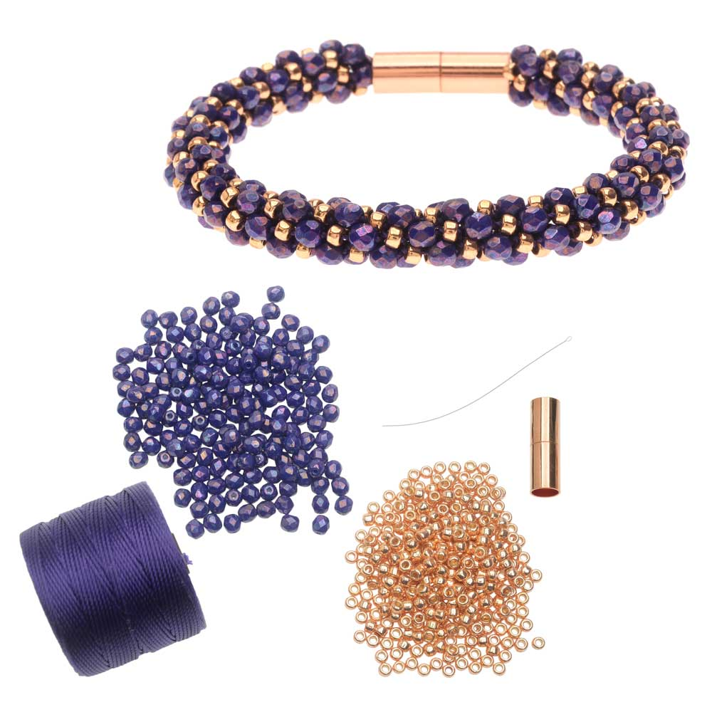 Refill -Deluxe Spiral Beaded Kumihimo Bracelet-Purple & Rose Gold-Exclusive Beadaholique Jewelry Kit
