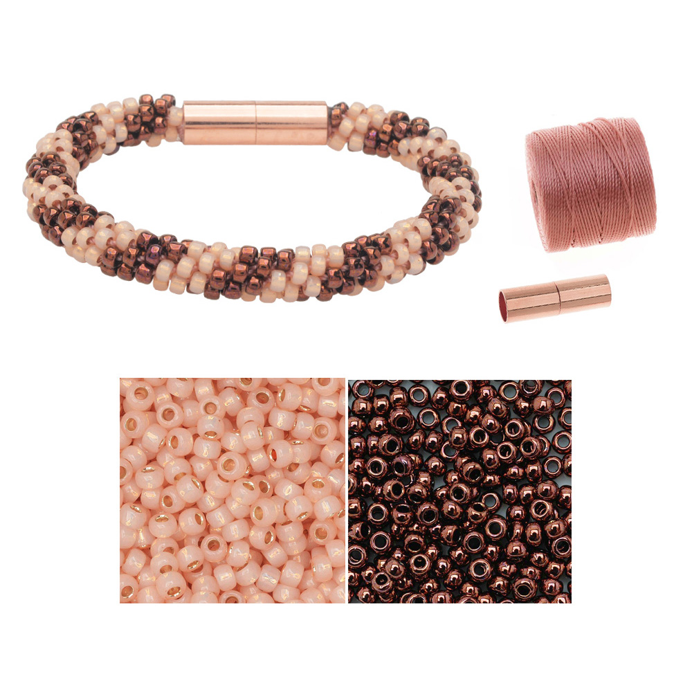 Refill - Splendid Spiral Kumihimo Bracelet in Pink and Bronze - Exclusive Beadaholique Jewelry Kit