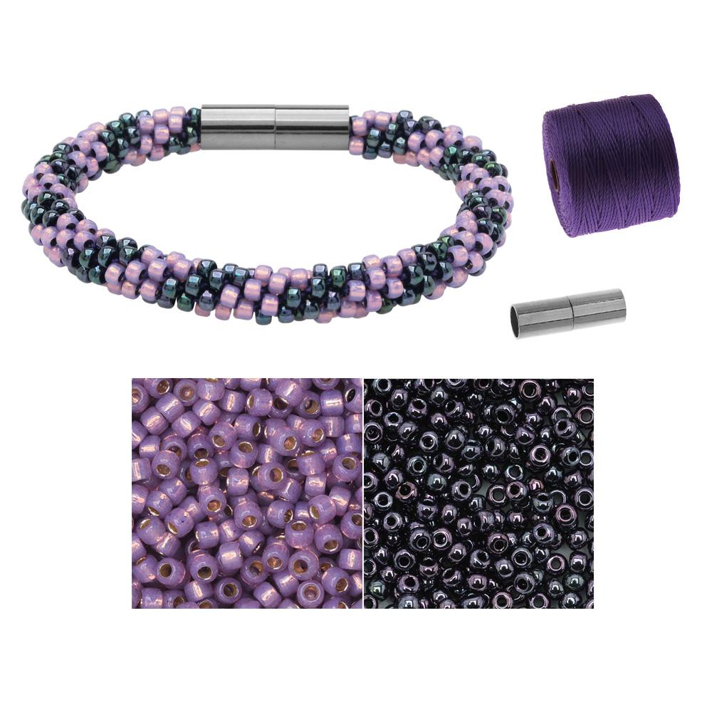 Refill - Splendid Spiral Kumihimo Bracelet in Purple and Gun Metal - Exclusive Beadaholique Jewelry Kit