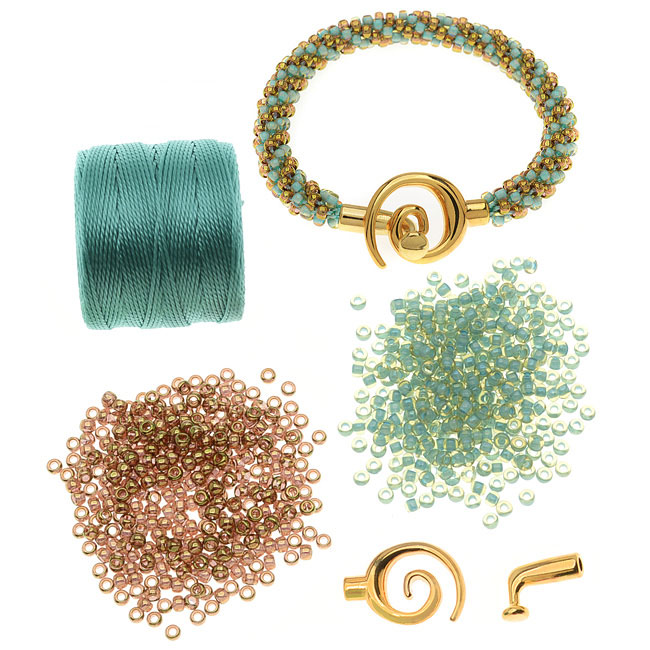 Refill - Spiral Beaded Kumihimo Bracelet (Gold/Turq) - Exclusive Beadaholique Jewelry Kit