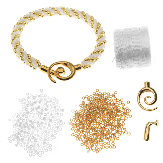 Refill - Spiral Beaded Kumihimo Bracelet (Gold/Wht) - Exclusive Beadaholique Jewelry Kit
