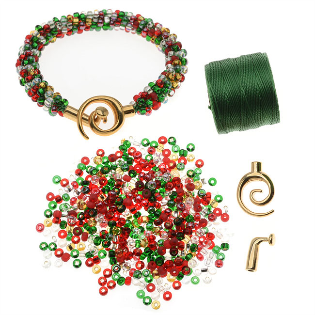 Refill - Beaded Kumihimo Bracelet (Christmas Tones) - Exclusive Beadaholique Jewelry Kit