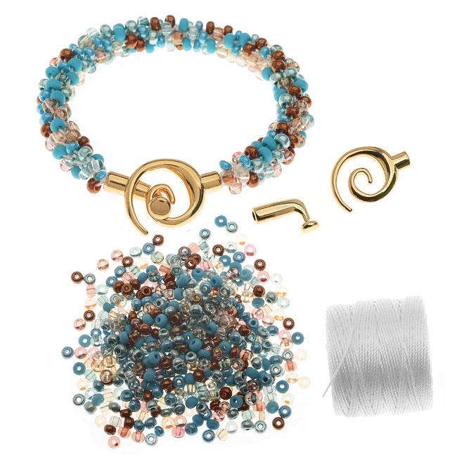 Refill - Beaded Kumihimo Bracelet - Blue Tones - Exclusive Beadaholique Jewelry Kit