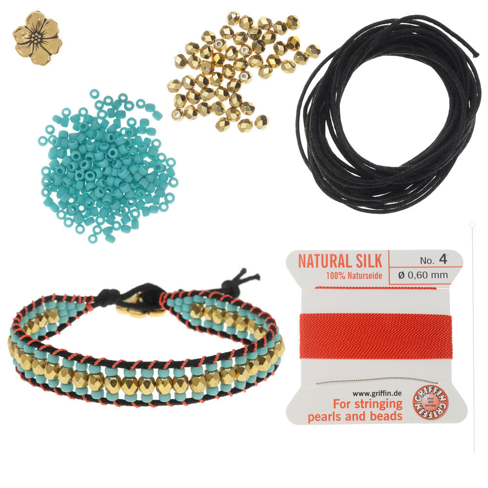 Refill - Cotton Wrapped Loom Bracelet - Teal Blossom - Exclusive Beadaholique Jewelry Kit