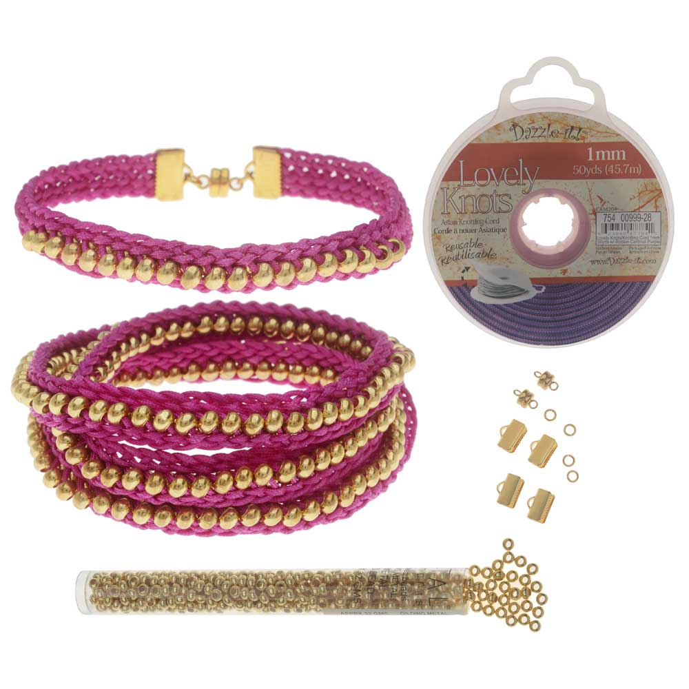 Refill - Beaded Flat Kumihimo Bracelet Set - Pink/Gold - Exclusive Beadaholique Jewelry Kit