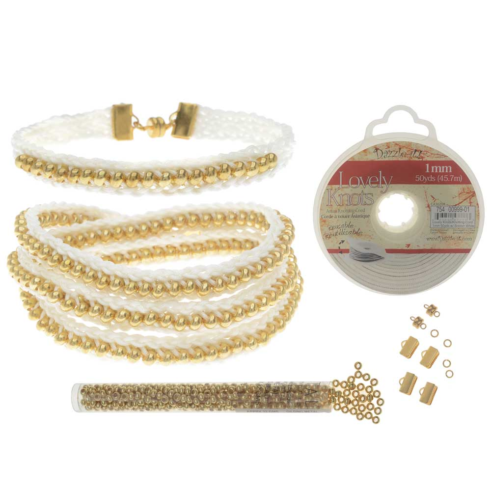 Refill - Beaded Flat Kumihimo Bracelet Set - White/Gold - Exclusive Beadaholique Jewelry Kit