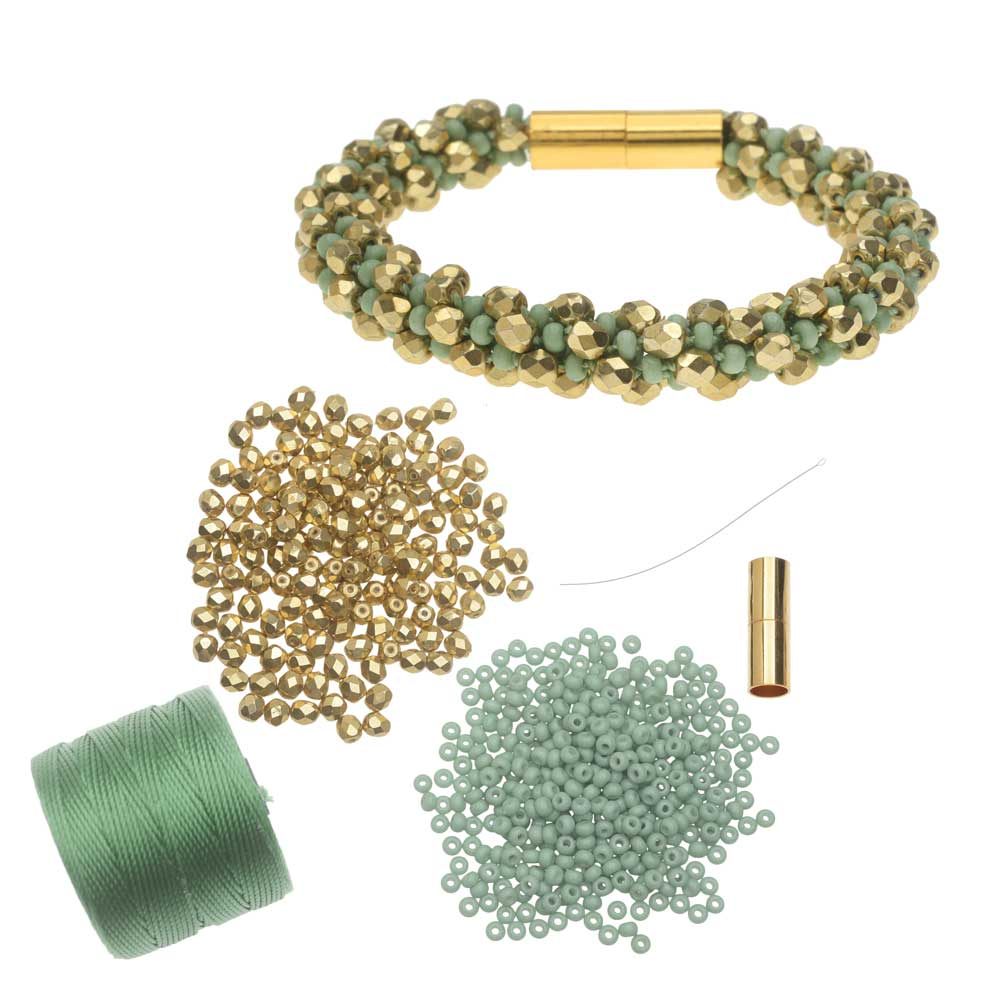 Refill - Deluxe Spiral Beaded Kumihimo Bracelet - Green & Gold  - Exclusive Beadaholique Jewelry Kit
