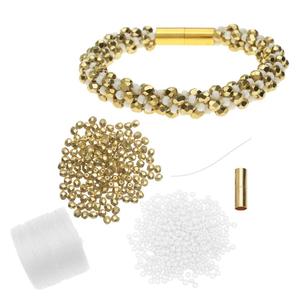 Refill - Deluxe Spiral Beaded Kumihimo Bracelet - White & Gold - Exclusive Beadaholique Jewelry Kit