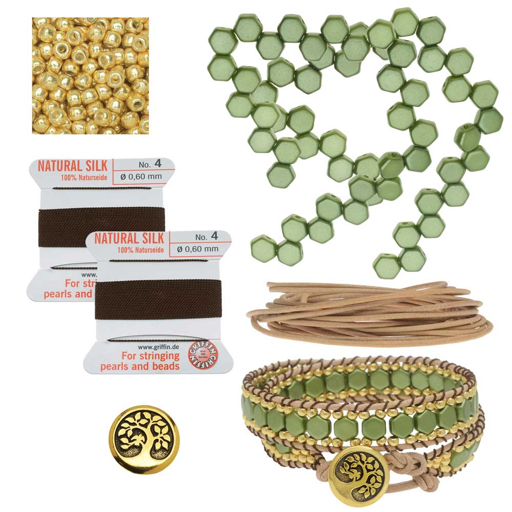Refill - Honeycomb Double Wrapped Loom Bracelet - Olive & Brown - Exclusive Beadaholique Jewelry Kit