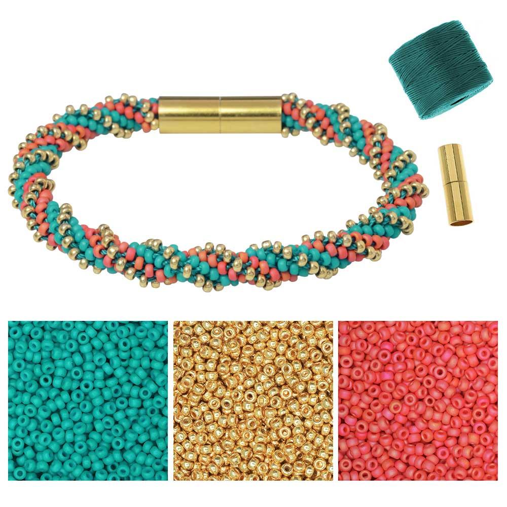 Refill - Spiral 12 Warp Beaded Kumihimo Bracelet -Tropical Cove - Exclusive Beadaholique Jewelry Kit
