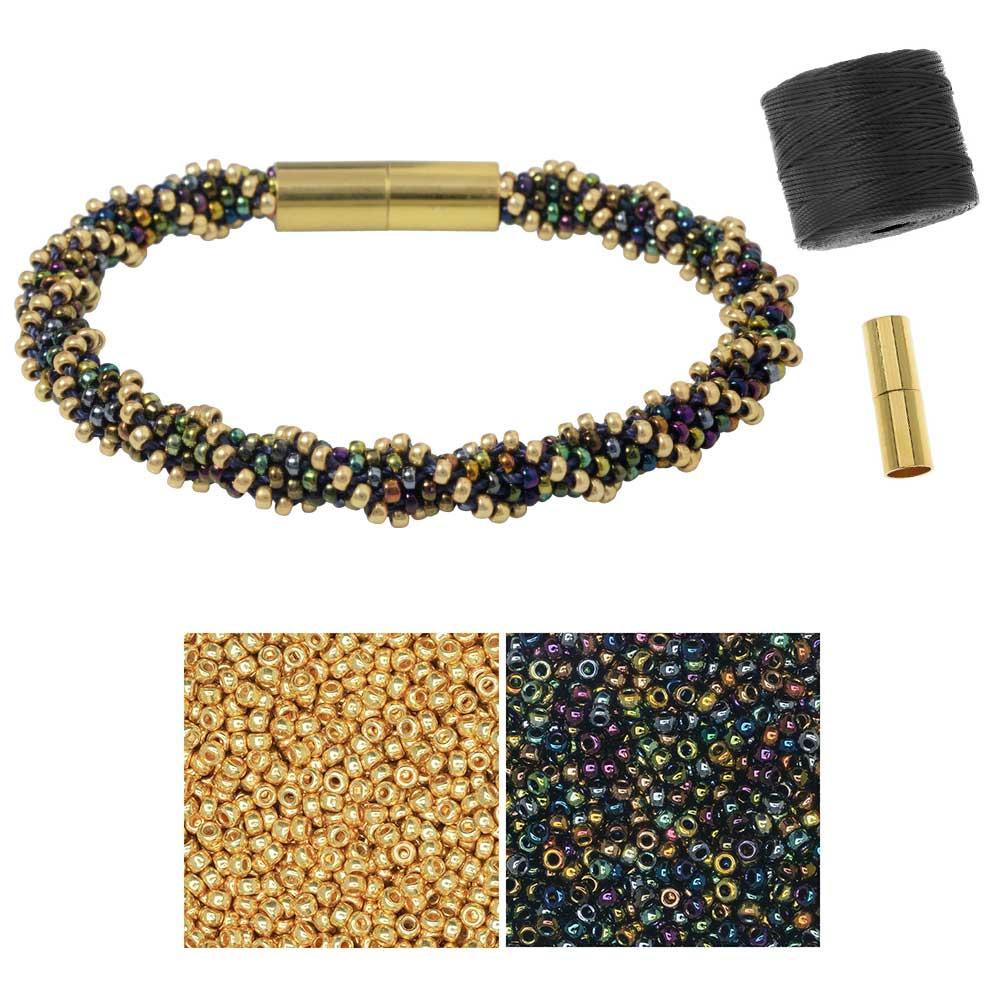 Refill - Spiral 12 Warp Kumihimo Bracelet in Night Lights - Exclusive Beadaholique Jewelry Kit