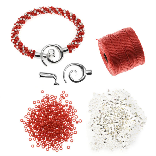 Refill - Spiral Beaded Kumihimo Bracelet (Red/Cryst) - Exclusive Beadaholique Jewelry Kit