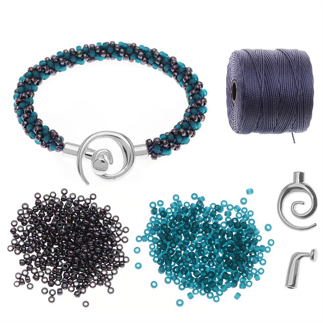 Refill - Spiral Beaded Kumihimo Bracelet (Teal/Purp) - Exclusive Beadaholique Jewelry Kit