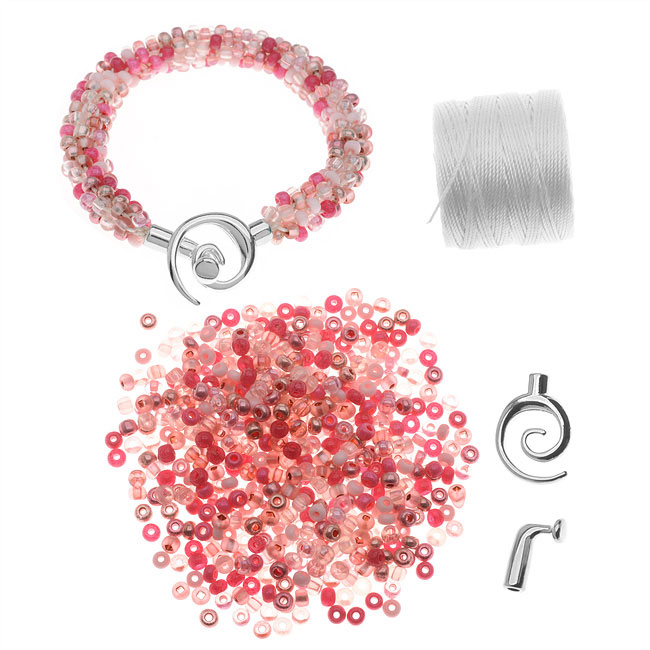 Refill - Beaded Kumihimo Bracelet - Pink Tones - Exclusive Beadaholique Jewelry Kit