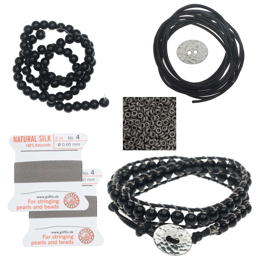 Refill - Leather Double Wrapped Loom Bracelet - Onyx/Grey - Exclusive Beadaholique Jewelry Kit