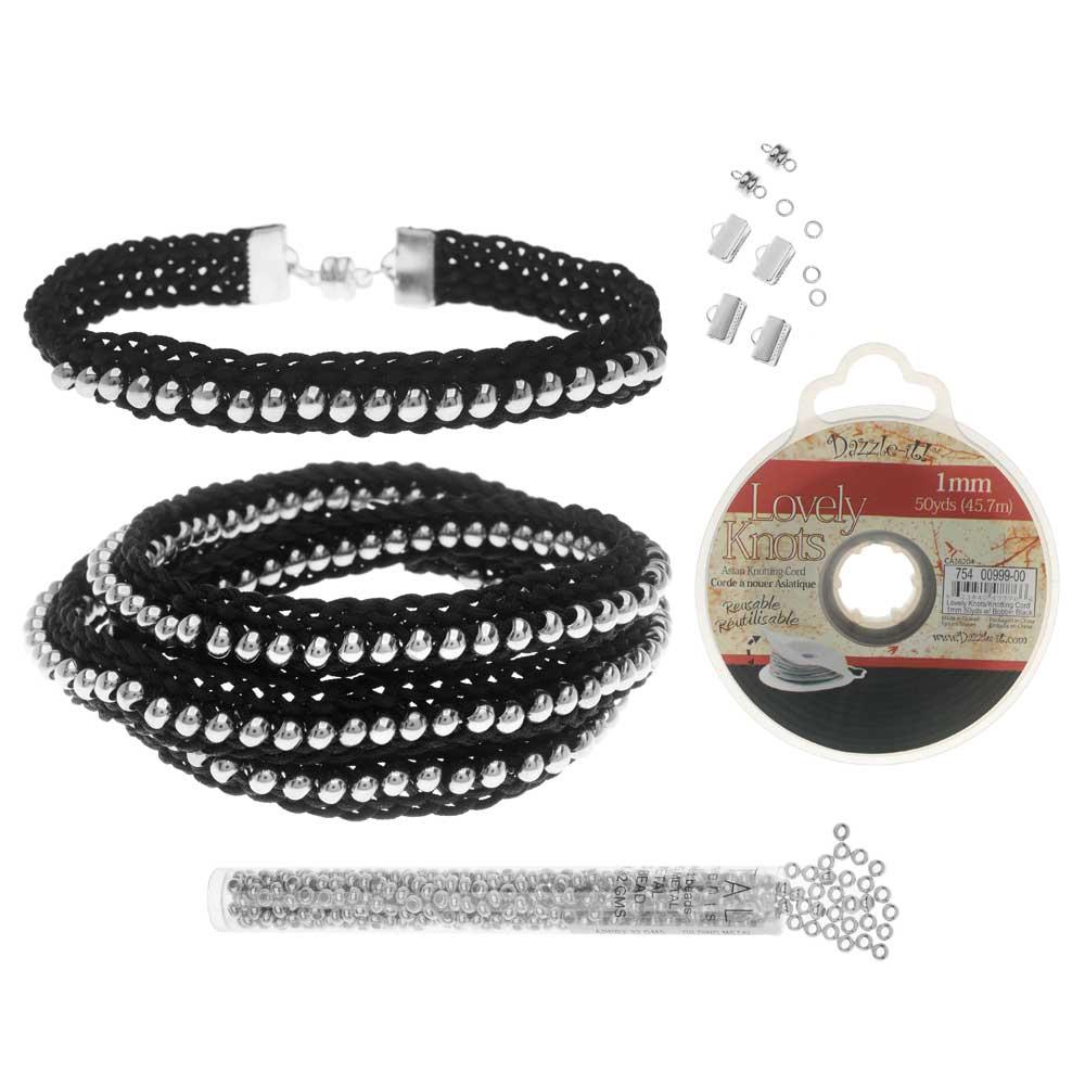 Refill - Beaded Flat Kumihimo Bracelet Set - Black/Silver - Exclusive Beadaholique Jewelry Kit