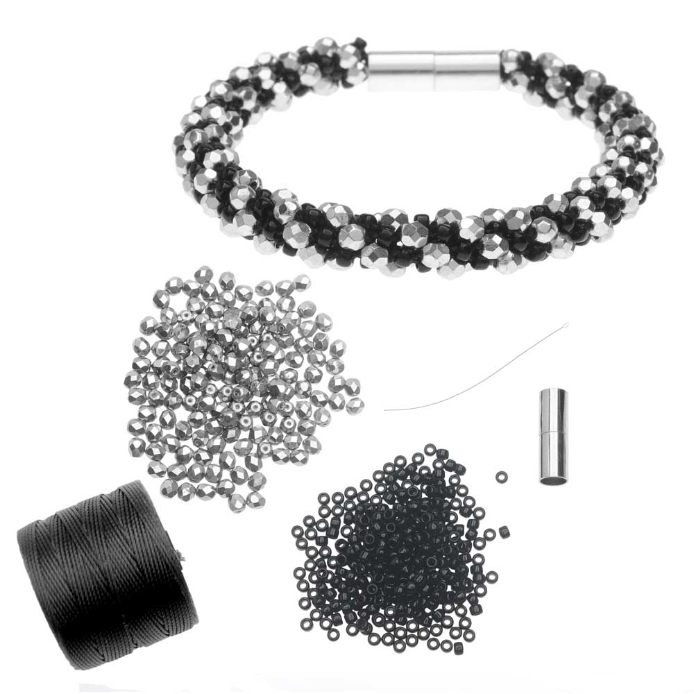 Refill - Deluxe Spiral Beaded Kumihimo Bracelet -Black & Silver- Exclusive Beadaholique Jewelry Kit