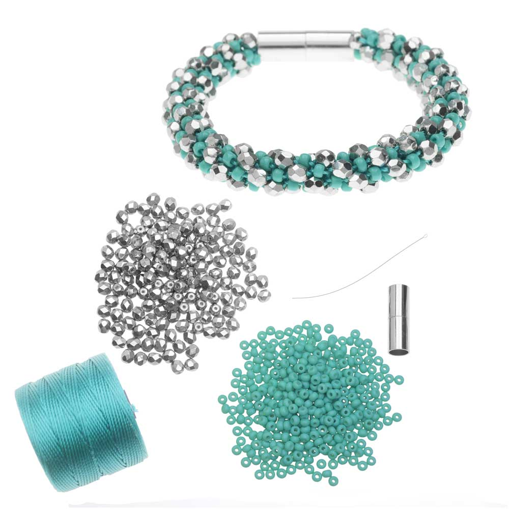 Refill -Deluxe Spiral Beaded Kumihimo Bracelet-Turquoise & Silver-Exclusive Beadaholique Jewelry Kit