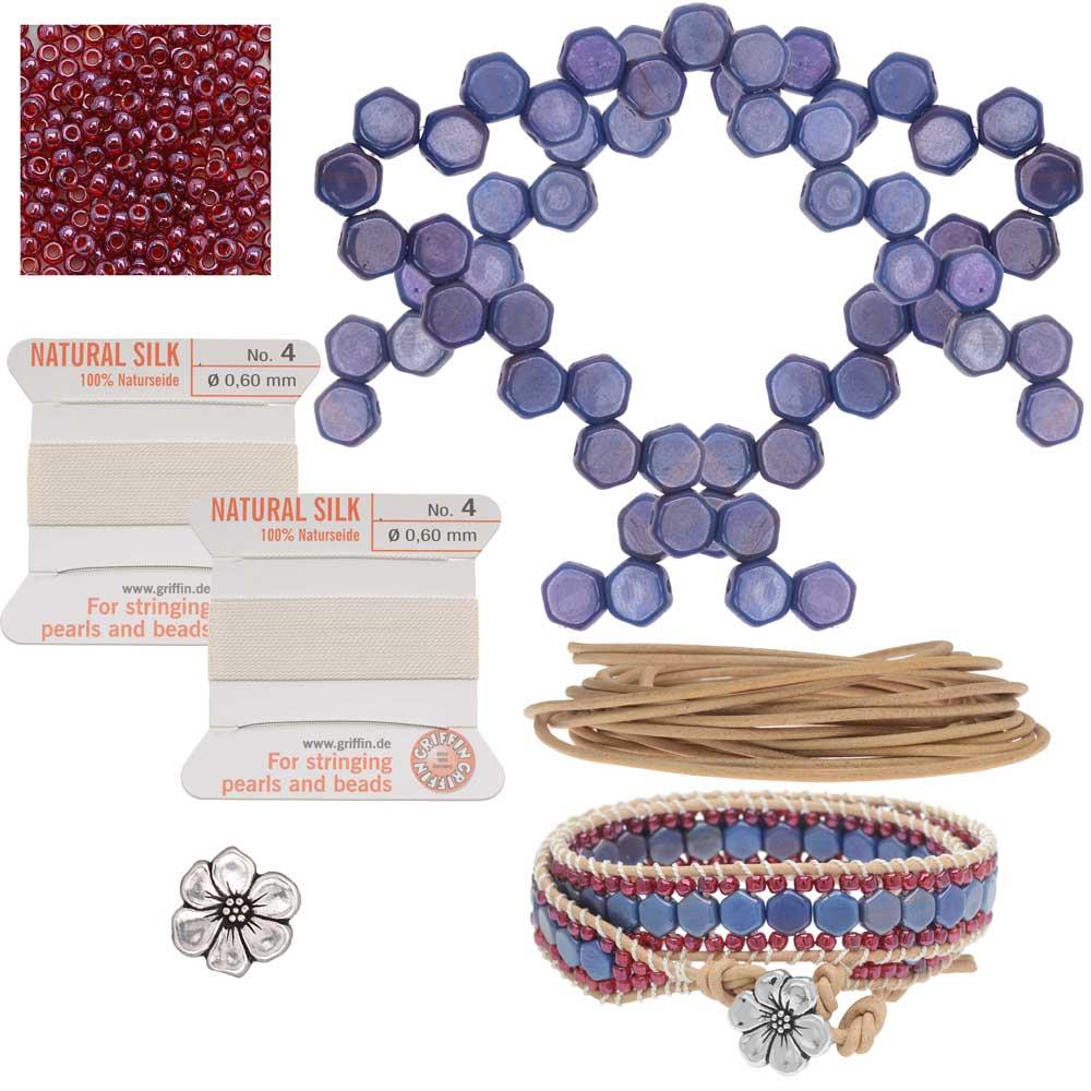 Refill -Honeycomb Double Wrapped Loom Bracelet -Raspberry & Blue- Exclusive Beadaholique Jewelry Kit