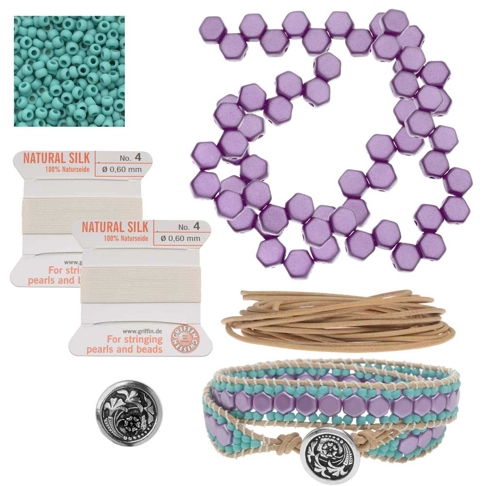 Refill - Honeycomb Double Wrapped Loom Bracelet - Lilac & Teal - Exclusive Beadaholique Jewelry Kit
