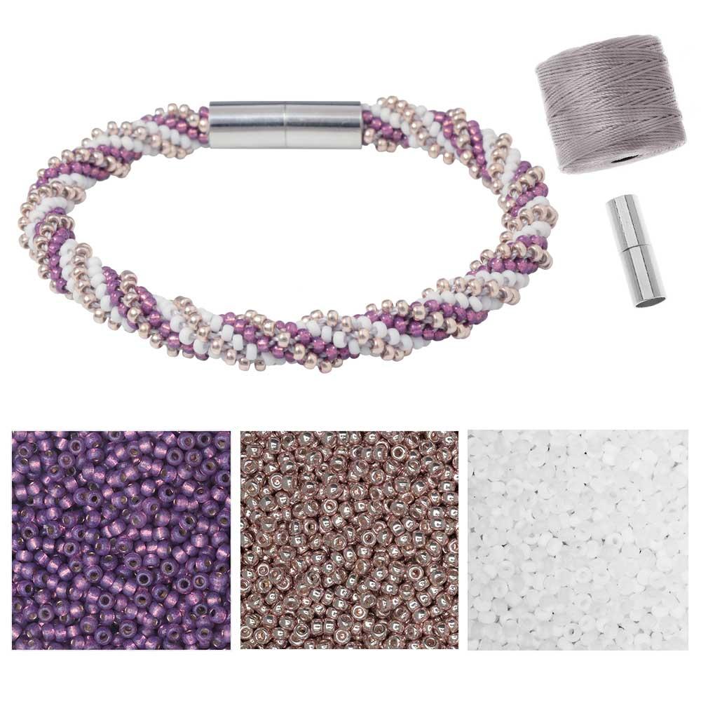 Refill - Spiral 12 Warp Beaded Kumihimo Bracelet - Sweet Orchid - Exclusive Beadaholique Jewelry Kit