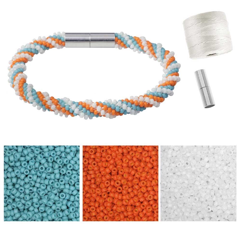 Refill - Spiral 12 Warp Beaded Kumihimo Bracelet - Orange Dream - Exclusive Beadaholique Jewelry Kit