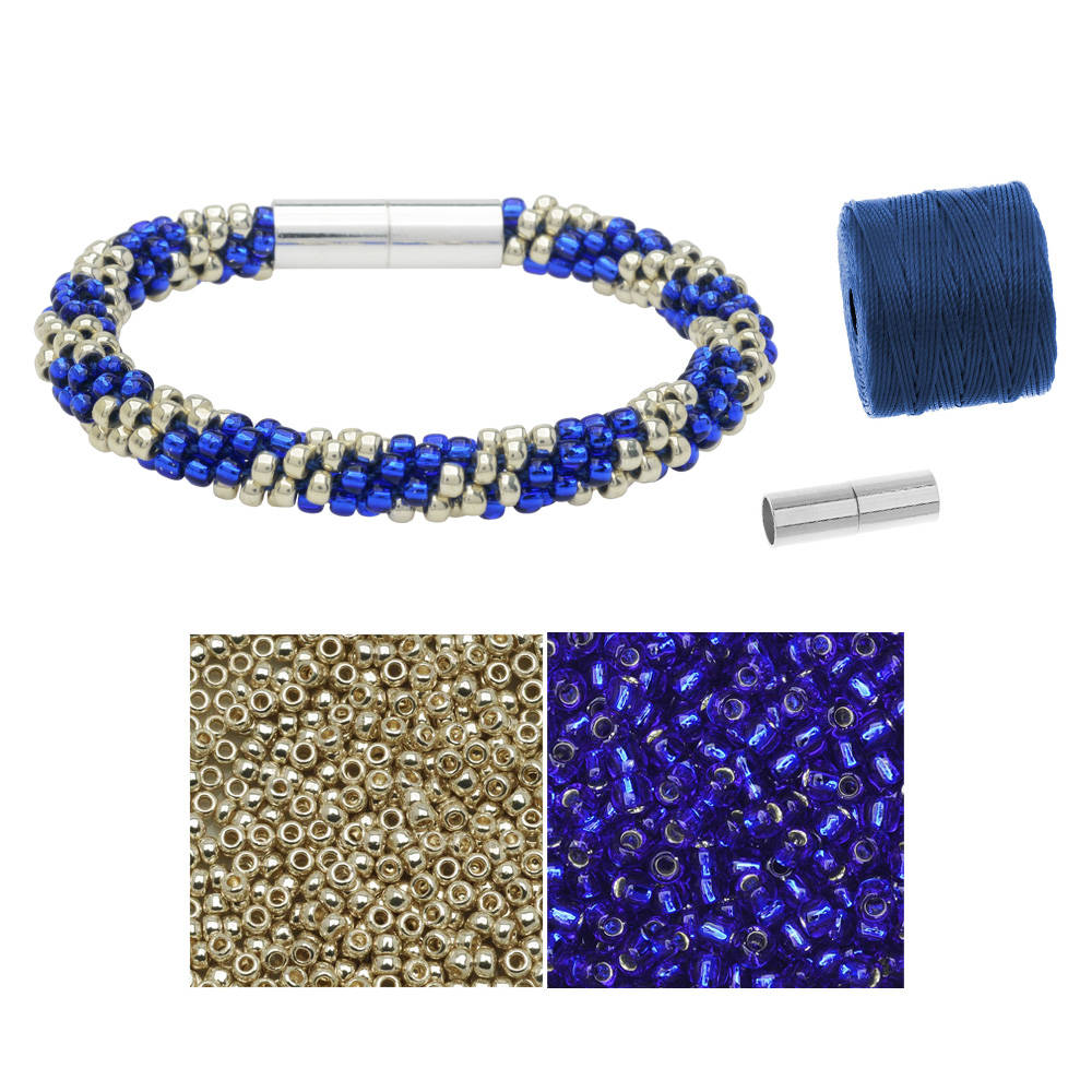 Refill - Splendid Spiral Kumihimo Bracelet in Blue and Silver - Exclusive Beadaholique Jewelry Kit