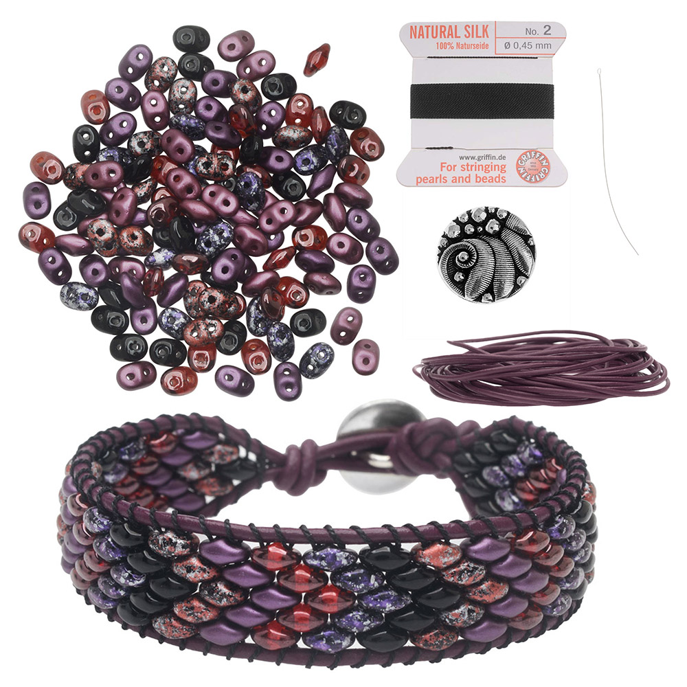 Refill - SuperDuo Wrapit Loom Bracelet in Pinot Noir - Exclusive Beadaholique Jewelry Kit