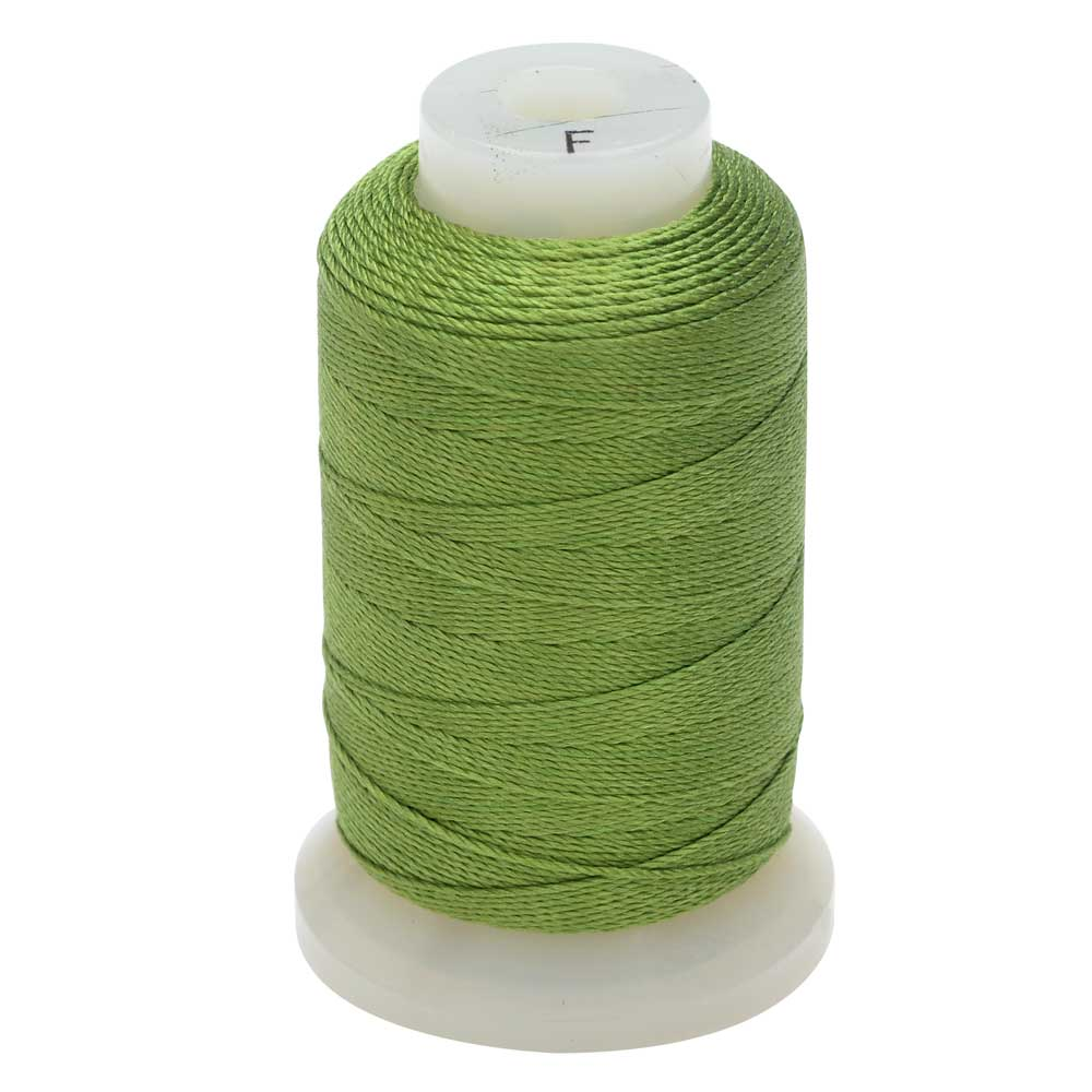 The Beadsmith 100% Silk Beading Thread, Size F, 140 Yards, 1 Spool, Bright Green