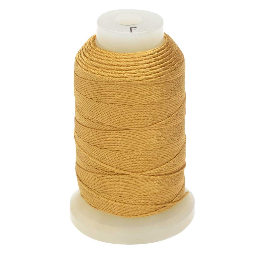 The Beadsmith 100% Silk Beading Thread, Size F, 140 Yards, 1 Spool, Gold