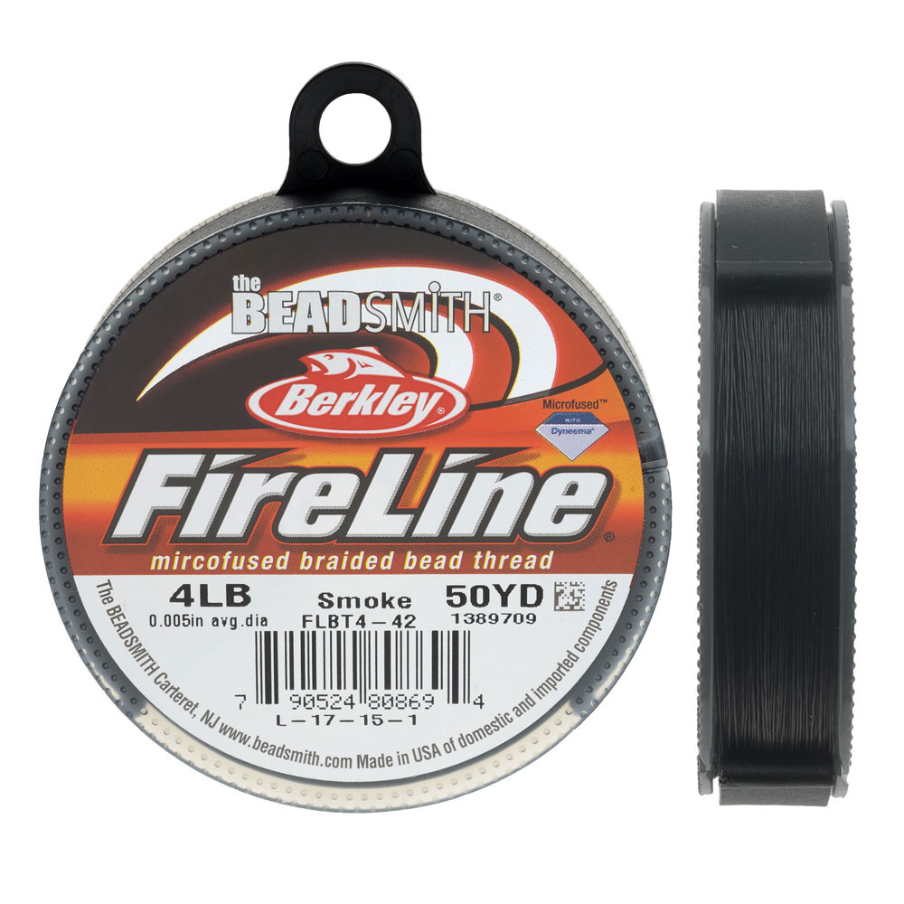 FireLine Braided Beading Thread, 4lb Test and 0.005 Thick, 50 Yards, Smoke Gray