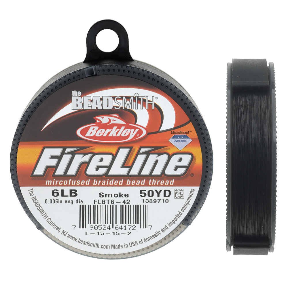 FireLine Braided Beading Thread, 6lb Test and 0.006 Thick, 50 Yards, Smoke Gray