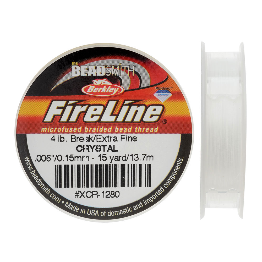 FireLine Braided Beading Thread, 4lb Test and 0.005 Thick, 15 Yards, Crystal Clear